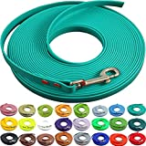 bio-leine Schleppleine 16 mm aus Beta BioThane® 5 Meter lang in Türkis/Petrol ohne Handschlaufe für mittelgroße Hunde, schmutz- und Wasserabweisende Hundeleine