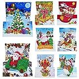 Kerstkaarten, 8 Packs Diamond Painting Christmas Wenskaart Handgemaakte Decoratie voor Xmas(A)