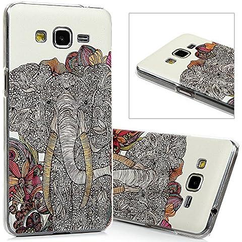 Samsung Galaxy Grand Prime G530H Funda - Lanveni® Chic Elegante Carcasa Rigida PC ultra Slim para Samsung Galaxy Grand Prime G530H G5308 Transparente Protective Case - Patrón elefante Diseño