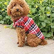 DAYONG Dog Shirt - Breathable Dog Plaid T-Shirt, Soft Basic Pet Vest Tee Clothes for Small Medium Large Dogs C