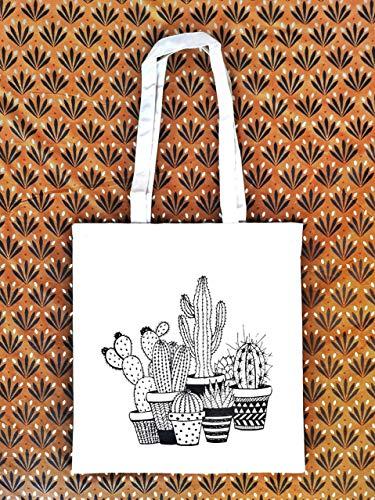 Tote Bag Kaktus - Stoffbeutel - Jutebeutel - ökologische Baumwolle - Geschenk für Frau - Geschenk des Weihnachtens - Prime