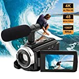 Videokamera Camcorder Ultra HD 48MP mit Mikrofon 4K Camcorder HD Wifi Kamera 3.0 '' Touch Screen Nachtsicht Pause Funktion