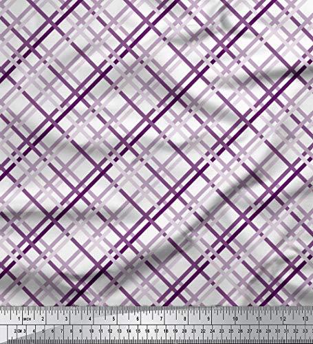 Soimoi Lila Poly Georgette Stoff Diagonale prufen Stoff drucken 1 Meter 52 Zoll breit