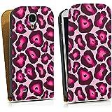 Samsung Galaxy S4 Tasche Schutz Hülle Walletcase Bookstyle Leo Pink Animal Print