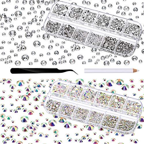 4000 Stücke Glas Flatback Edelsteine Runde Flat Back Strasssteine 6 Größen 1,5 mm-6 mm in Box mit Pinzette und Strass Picking Stift für Nagel Gesicht Kunst Augen Makeup Dekor, Kristall AB und Klar