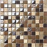Glas und Naturstein Mosaik Fliesen Matte in Braun und Beige Glänzend und Matt (MT0050)