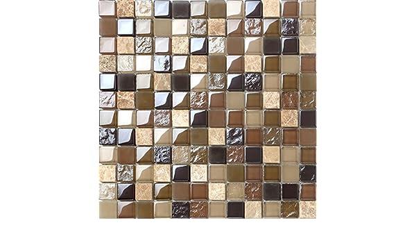 Piastrelle a mosaico da mq in vetro e pietra naturale colore