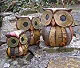 Set of 3 Shabby Chic Owls 11, 9 and 7cm Hand made, Fair Trade