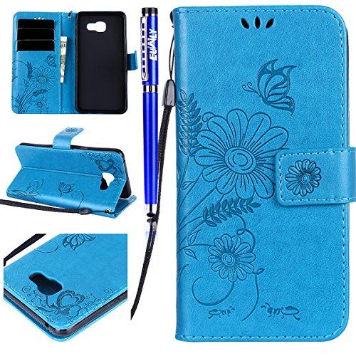 FESELE Kompatibel mit Galaxy A3 2016 Leder Hülle, Schmetterling Blumen Muster Ledertasche Leder Brieftasche Schutzhülle Handyhülle Klapphülle Kartenfach mit Standfunktion,Blau