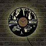 Movie Theme LED Vinyl Wall Clock Creative Home Decor Vintage Night Light Three-Dimensional Art Wall Clock