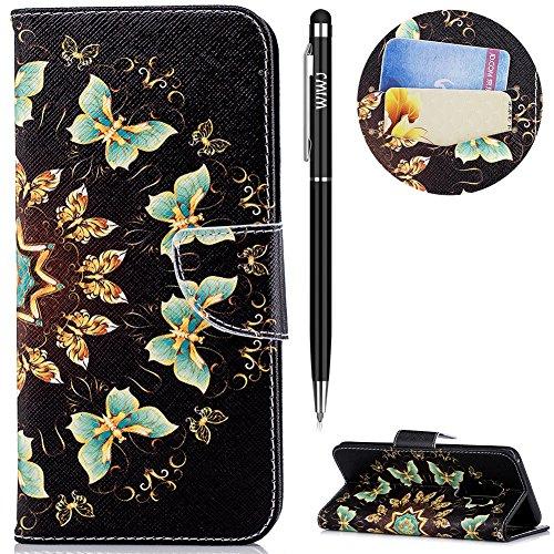 WIWJ Schutzhülle für Galaxy S9 Plus Handyhülle Leather Case für Galaxy S9 Plus Hülle [Messer Schnalle Gemalt Stand Handy Case] Hülle für Samsung Galaxy S9 Plus-Halbkreisförmiger Schmetterling