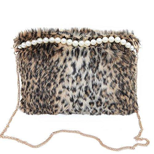 Longra Borsa a tracolla della borsa di modo delle donne perla peluche Multicolore