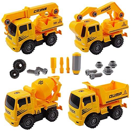 deAO Camiones de Construcción para Montar y Desmontar Conjunto de 4 C