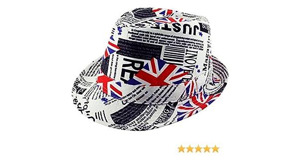 dad07ef6cbae1 Itzu Union Jack Flag Newspaper Print Trilby Fedora Hat British Unisex in  White Red Blue  Amazon.co.uk  Clothing