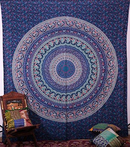 Handicrunch Hippie-Elefant Wandteppiche Wandschmuck, indische Mandala Tapestry Tagesdecke, Schlafteppich , Dekorative Wandbehang, Wandteppiche für Schlafsäle - Block Bedruckten Baumwollbettlaken