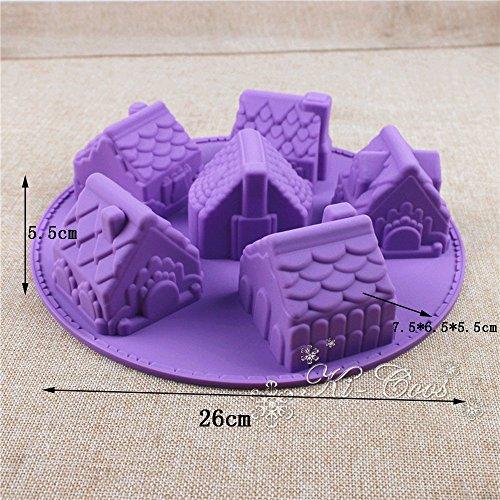 Global- forma de la casa de Navidad molde creativo del arte DIY de horno, cocina de múltiples funciones Herramientas molde de pastel de silicona (juego de 2)