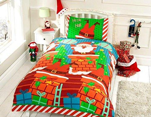 Father Christmas Kids Double Quilt Duvet Cover & 2 Pillowcase Bedding Bed Set Santa Claus Xmas