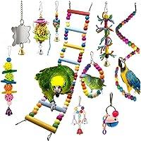 Angwis Lot de 10 jouets à suspendre pour cage de perroquet, perchoirs, échelle d'escalade, miroir, clochettes, jouets à…