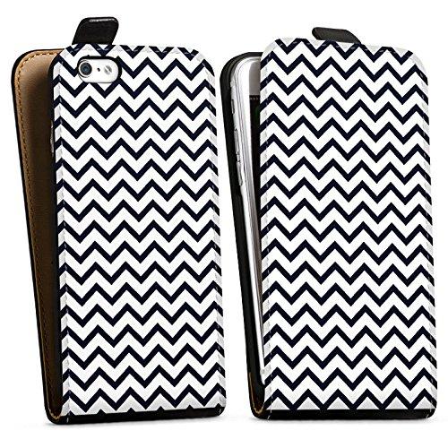 Apple iPhone X Silikon Hülle Case Schutzhülle Zickzack Muster Streifen Downflip Tasche schwarz