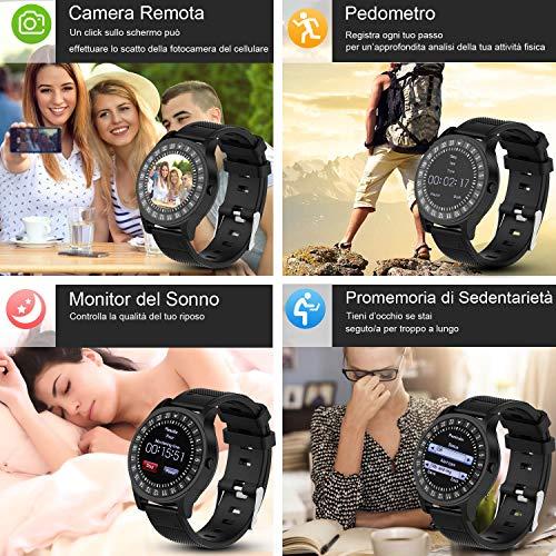 Smartwatch AIVEILE, Orologio Intelligente con slot SIM, Schermo touch con Notifiche Camera e Fitness Tracker per iPhone Samsung Xiaomi Huawei, Uomo Donna Sport Smart Watch con micro SD per Android/IOS