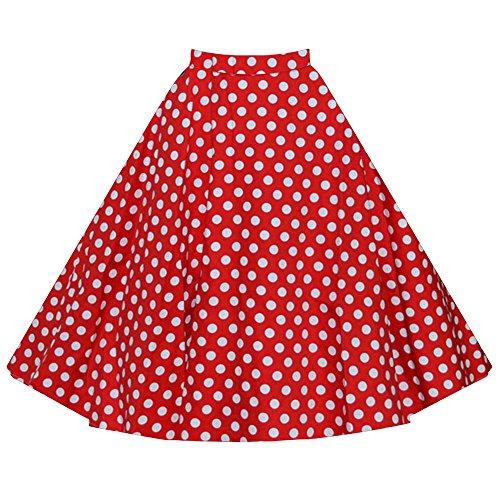 Femmes Rétro Jupe Basique Plissée Patineuse Fille Elastique Court Midi Jupe Rouge Point