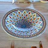 Plat Tebsi Bakir turquoise - D 37 cm