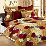 #8: Story@Home 100% Cotton Bed Sheet for Double Bed with 2 Pillow Covers Set, Candy Queen Size Bedsheet Series, 120 TC, Vivid Roses Pattern, Cream