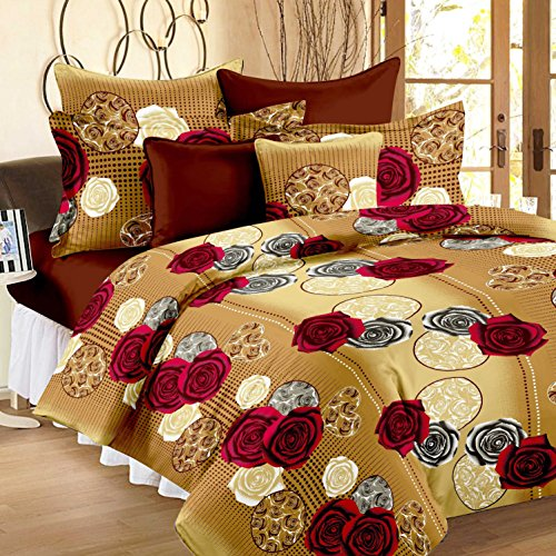 Story@Home 100!% Cotton Bed Sheet for Double Bed with 2 Pillow Covers Set, Candy Queen Size Bedsheet Series, 120 TC, Vivid Roses Pattern, Cream