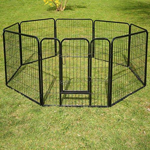 TRESKO® Welpenlaufstall Freilaufgehege Welpenauslauf Hundelaufstall Tierlaufstall Hunde, mit Tür und wetterfester Hammerschlag-Lackierung - 5