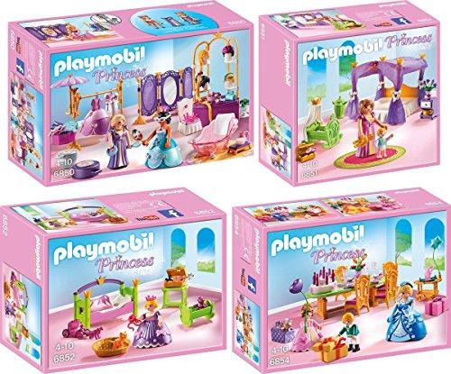 PLAYMOBIL® Princess set en 4 parties 6850 6851 6852 6854 salon de beauté + chambre céleste + chambre de princesse + fête d'anniversaire