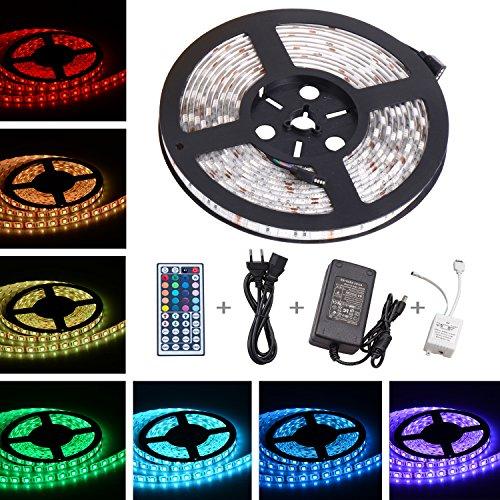 Rocknteck LED Streifen 5M 5050 RGB LED Strip mit 300 LEDs Bunt LED Schlauch LED Lichterkette Farbwechsel Lichtband LED Leiste Beleuchtung inkl. Netzteil Fernbedienung Empfänger und Stromkabel