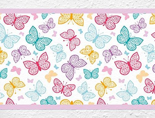 I-love-Wandtattoo b-10040 Kinderzimmer Bordüre 'Farbenfrohe Schmetterlinge' Tiermotiv Tapete Kinder