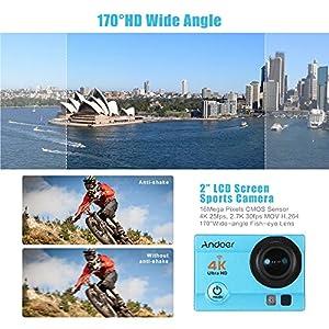 """Andoer® Cámara de acción con pantalla LCD de 2 """", 4K 25FPS 1080P 60 FPS Wifi Cam Salida de Video FPV 16MP Lente de 170 ° Gran Angular con Funda Impermeable Buceo de 30 Metros, Azul"""
