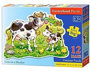 CASTORLAND Cows on a Meadow 12 Maxi pcs Contour Puzzle 12 Pieza(s) - Rompecabezas (Contour Puzzle, Dibujos, Preescolar, Niño/niña, 3 año(s), Interior)