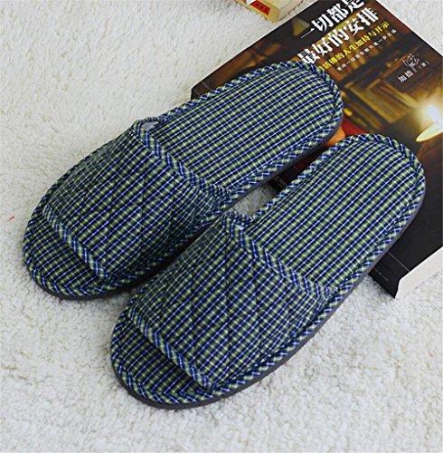 Aperta piede Hotel pantofole non usa e getta spessore hotel antiscivolo hotel ospitalità salone di bellezza aria 3 pz , blue and green plaid blue and green plaid