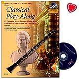 Livre de partitions «Classical Play-Along» - 12morceaux de musique classique bien connus - Avec d'authentiques pistes d'accompagnement pour clarinette - Avec CD et pince colorée en forme de cœur...