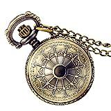 Lancardo Vintage Taschenuhr Herren Damen Analog Quarz Uhr, Fashion Antik Spinnwebe mit Halskette Kette Kettenuhr Pocket Watch, Farben Bronze