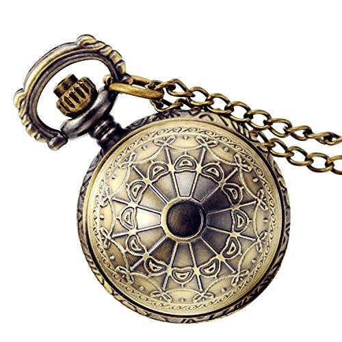 Weihnachten Lancardo Vintage Taschenuhr Herren Damen Analog Quarz Uhr, Fashion Antik Spinnwebe mit Halskette Kette Kettenuhr Pocket Watch, Farben Bronze