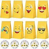 liuer 48PCS Emoji-Expression Sacchetto Regalo,Sacchetti Regalo di Carta Emojis Caramella Sacchetto per Bambini,Sacchetti di C