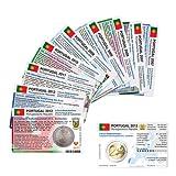 Set - alle Münzkarten (ohne Münze) Portugal für 2-Euro Gedenkmünzen, 9 Münzkarten