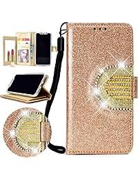 Nadoli Spiegel Glitzer Hülle für Huawei P20 Pro,Bling PU Ledertasche Trageschlaufe Wallet Case Brieftasche Hülle Handyhülle Flip Case Cover für Huawei P20 Pro,Gold