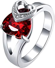 LWLH Womens 925 Sterling Silver 3ct Ruby Cubic Zirconia Double Heart Engagement Wedding Ring Szie 8