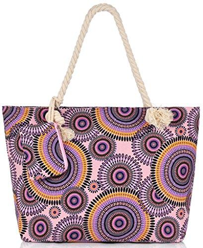 Binlion Canvas Beach Bag 2pcs/set Pink and Black