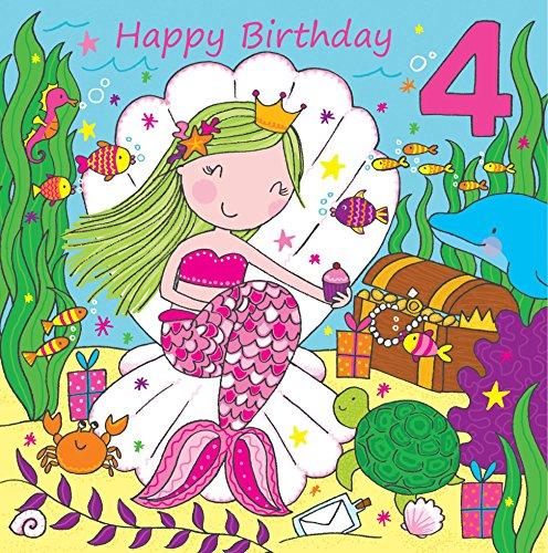 Twizler 4th di compleanno per ragazza con cute Mermaid & Glitter