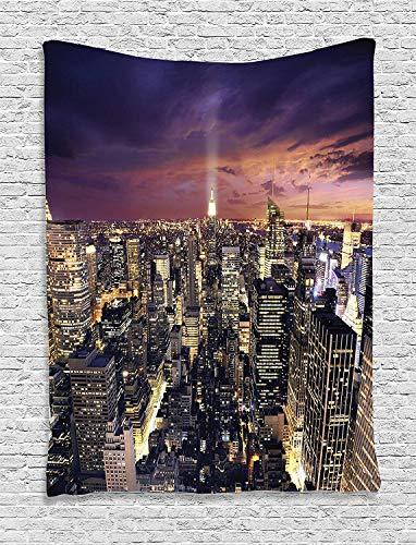 ZGQQQ Wall Hanging Tapestry NYC Manhattan Büros High Tall Tower Traffic Busy Urban Life Windows Lights District View Dorm 150 * 200CM (Tröster Tower)