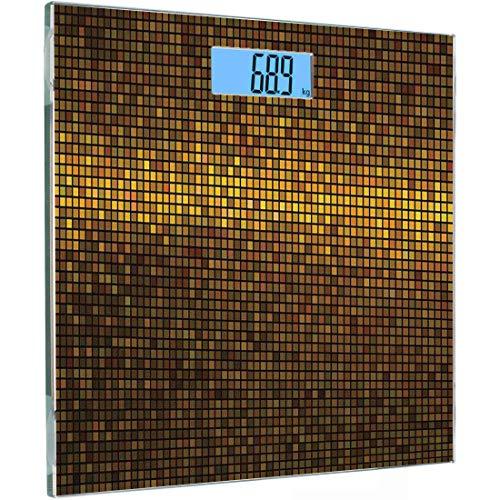 ise Sensoren Digitale Körperwaage Abstrakt Gehärtetes Glas Personenwaage, Gold Disco Thema Muster Quadrate Digitaler Effekt Pixel Mosaik Geometrisches Design, Mehrfarbig, Au ()