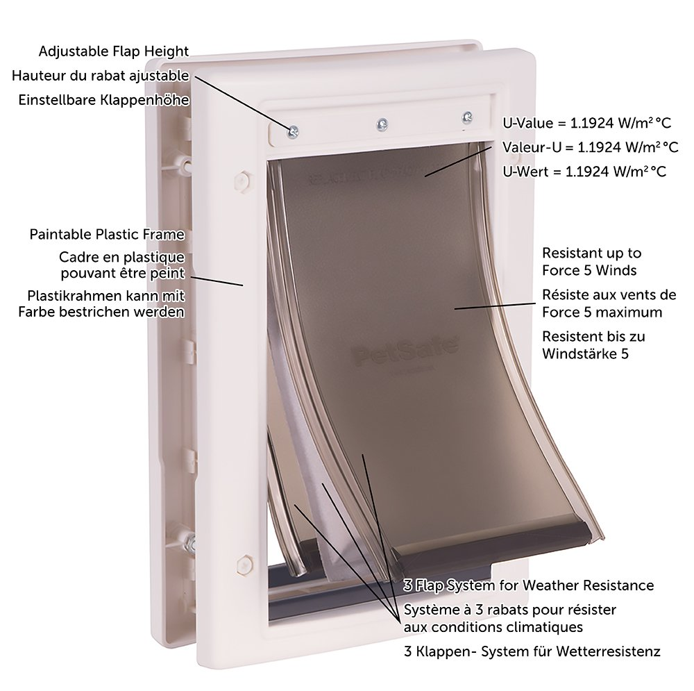 PetSafe - Porte pour Animaux pour Conditions Climatiques Extrêmes (S) - Très Isolante - Triple protection Contre le Froid et le Chaud