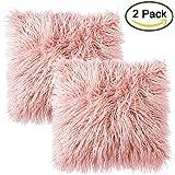 Faux Fur Throw Funda de cojín, LIVEBOX Deluxe Home Decorativo Super Soft Plush Mongolia Faux Fur Throw Pillow Funda Funda de cojín 18 x 18 pulgadas, paquete de 2 Rosado sin inserciones