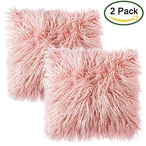Faux Pelz Wurfkissenbezug, LIVEBOX Deluxe Home Dekorative Super Weich Plüsch Mongolischen Faux Pelz Wurf Kissenbezug Kissenbezug 18 x 18 Zoll, Packung mit 2 Rosa ohne Einsätze