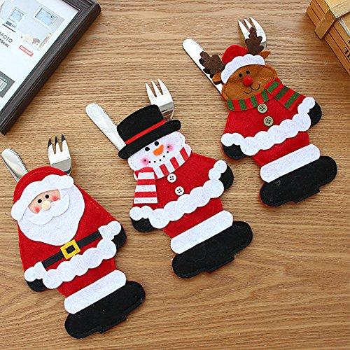 2 STÜCKE Santa Anzug Weihnachten Besteck Halter Taschen Rot, Geschirr Halter Set Messer und Gabel Tasche (Santa Quadratische Gläser)